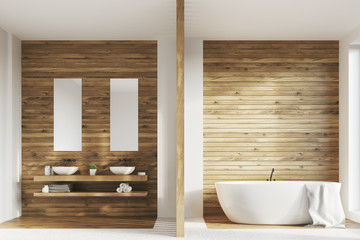 Wooden bathroom, two sinks, posters
