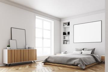 White bedroom interior, poster, corner