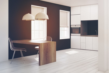 White and black kitchen close up toned