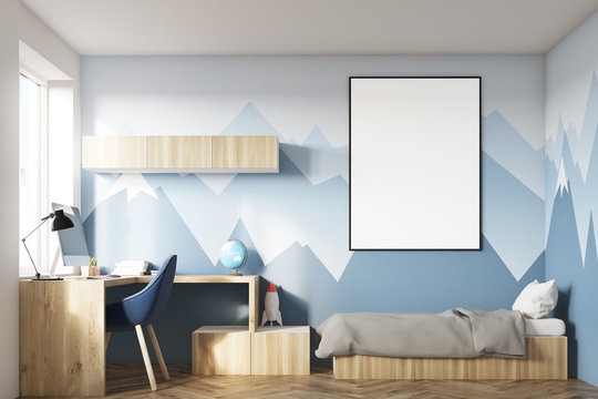 Kids room with poster and mountain wall