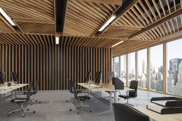 Two rows wooden open space office