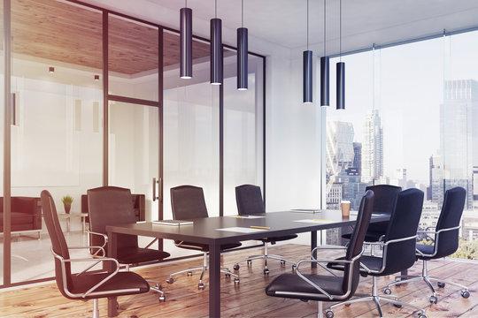 Panoramic conference room interior, corner toned