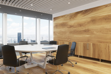 Dark wooden meeting room corner