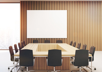Rectangular meeting room, poster wood toned