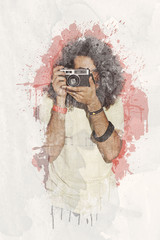 Water color photographer long curly hair holding camera