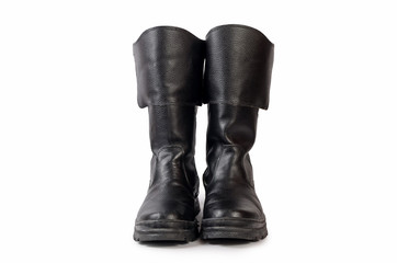 Mens black boots on white background