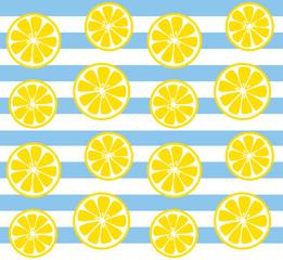 seamless lemon print with blue stripes