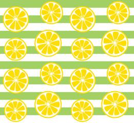 seamless lemon print with green stripes