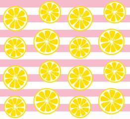 seamless lemon background with pink stripes
