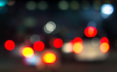 Defocus Car Tail Lights in The Night
