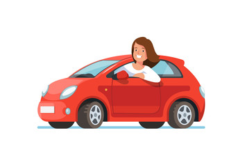 Poster Cartoon cars Vector flat illustration of a happy young woman driver sitting rides in his red car. Design concept of buy a new car