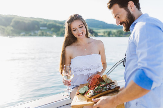 Lobster dinner on boat at lake