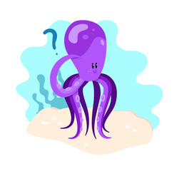 Cute thinking octopus. Vector illustration concept.