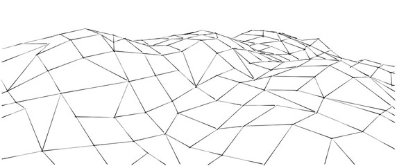 Low-poly geometric 3D mountain landscape. Abstract background. Wire outline lines.