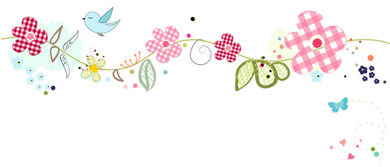 Colorful lovely summer flowers banner background