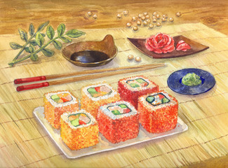 Watercolor illustration. Japanese food. Sushi or rolls, wasabi, ginger. Order at the restaurant. Art for poster