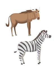 African animals cartoon vector set. zebra and antelope safari isolated illustration