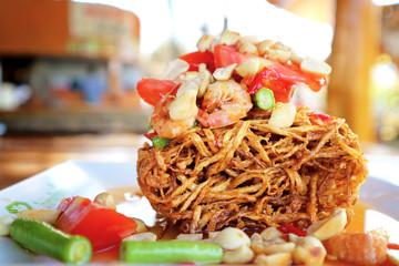 Papaya fried salad  Thai fusion food