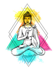 vector illuastration with Buddha.
