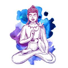 vector illuastration with Buddha.