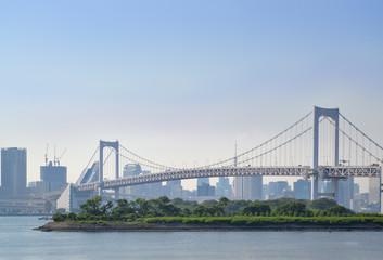 Rainbow bridge as seen from Odaiba waterfront, Odaiba, Japan