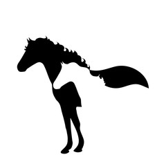 Vector silhouette of horse logo on white background.
