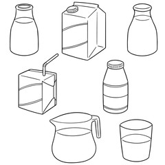 vector set of milk