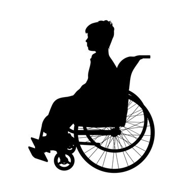 Vector silhouette of boy on wheelchair on white background.