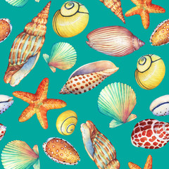 Seamless pattern with underwater life objects, isolated on turquoise background. Marine design-shell, sea star.  Watercolor hand drawn painting illustration. Element for posters, greeting cards.