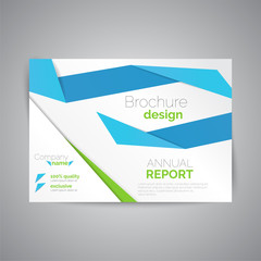 Commercial annual report template. Abstract business brochure.