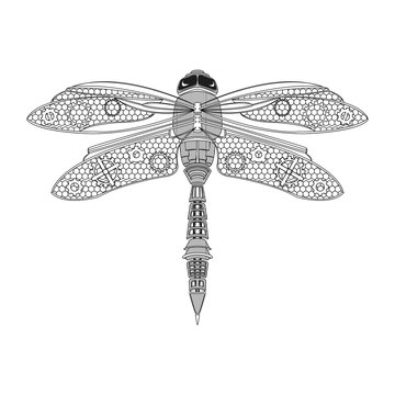 Black steampunk dragonfly on white background isolated. Hand-drawn vector illustration.