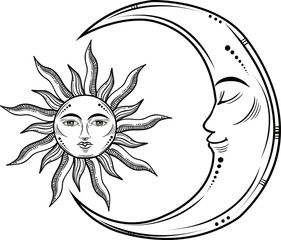 Vector illustration of Moon and Sun with faces