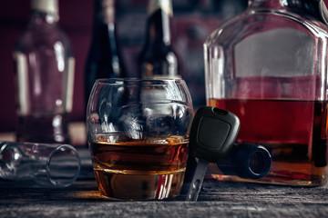 Cognac,car key and empty bottle