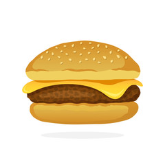 Fototapeta Cheeseburger with meat and cheese obraz