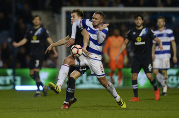 Blackburn Rovers' Sam Gallagher in action with Queens Park Rangers' Joel Lynch
