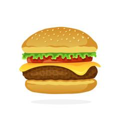 Hamburger with cheese, tomato and salad
