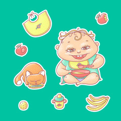 Vector set of color illustrations stickers happy child and kitten. Apples, bananas, kasha and other baby food. The chubby curly kid eating porridge and red cat drinking milk or water