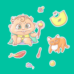 Vector set of color illustrations stickers angry child and terrible kitten. Baby food toys and hygiene items. The chubby curly frown kid and red cat