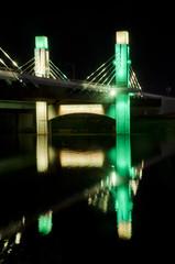 Night Shot of Pedestrian Bridge to McLane Stadium at Baylor University