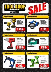 Tool shop product promotion flyer template