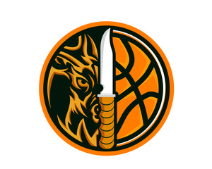 Modern Animal Sports Badge Logo - Wolf Basketball Team With Knife Symbol
