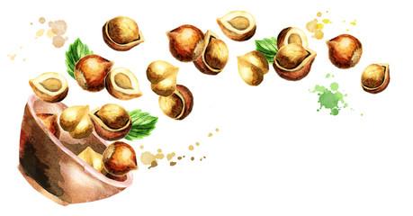 Bowl with hazelnuts. Hand-drawn horizontal watercolor illustration