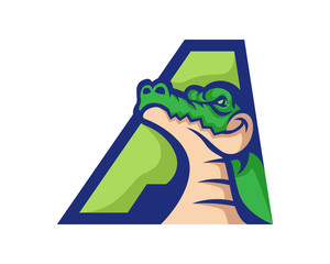 Modern Alligator A Letter Alphabet Sports Logo