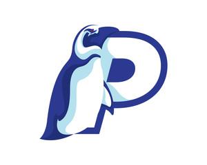Modern Penguin P Letter Alphabet Sports Logo