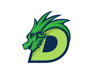 Modern Dragon D Letter Alphabet Sports Logo
