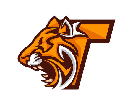 Modern Tiger T Letter Alphabet Sports Logo