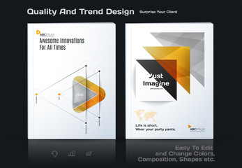 Abstract annual report, business vector template. Brochure design, cover modern layout, flyer in A4 with yellow soft triangular shapes for tech, science, finance with light background.