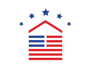 Modern House Real Estate Logo - American Dream House