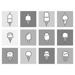 ice cream Thin Line Art Icon Set