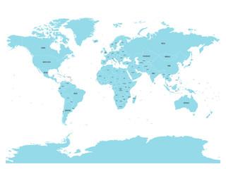 Foto op Plexiglas Wereldkaart Political map of world with in blue. EPS10 vector illustration.